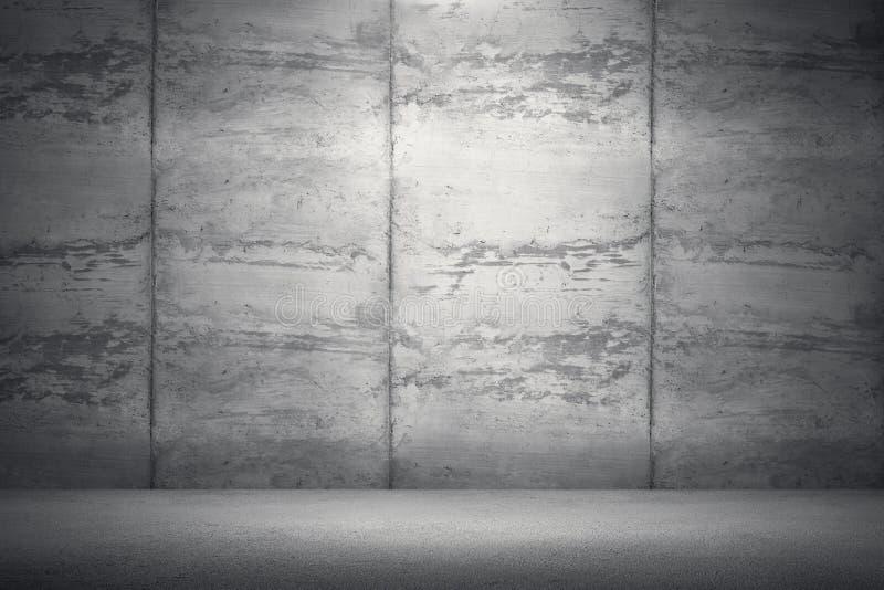 Sala interior com muro de cimento e o assoalho sujos rendição 3D mim ilustração do vetor