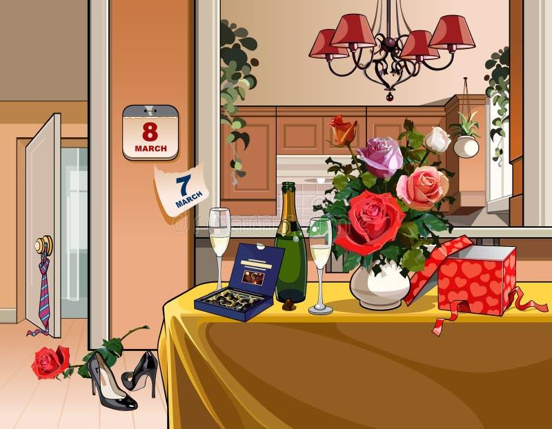 Sala interior com tabela de jantar por um feriado em oito março ilustração do vetor