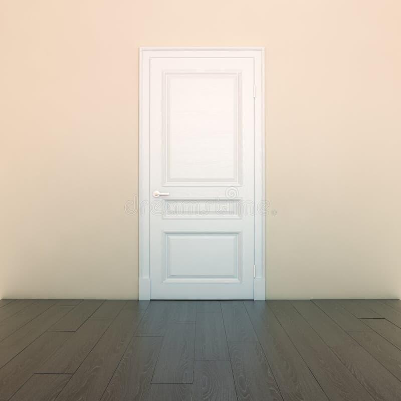 Sala interior do pêssego vazio com porta branca imagem de stock royalty free