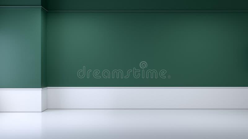 A sala interior, vazia minimalista, a parede verde e flooring/3d brancos rendem ilustração stock