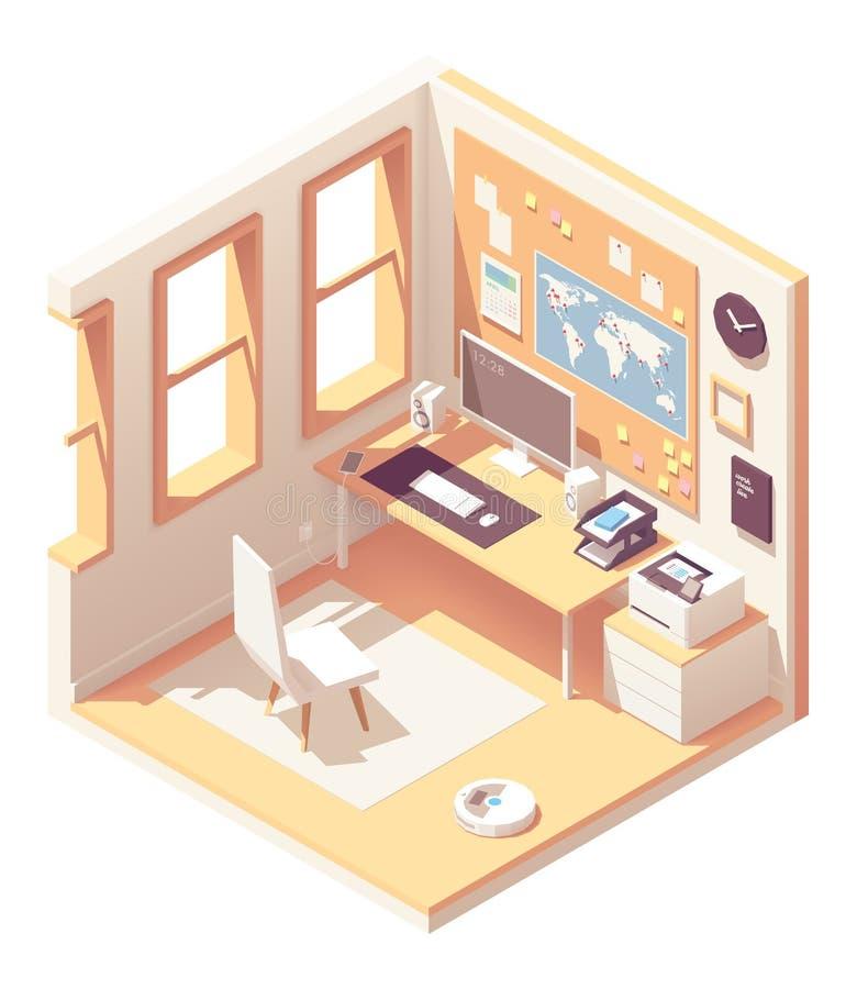 Sala isométrica do escritório domiciliário do vetor ilustração do vetor