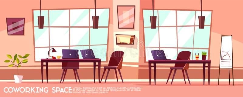 Sala isométrica do escritório do vetor, coworking ilustração stock