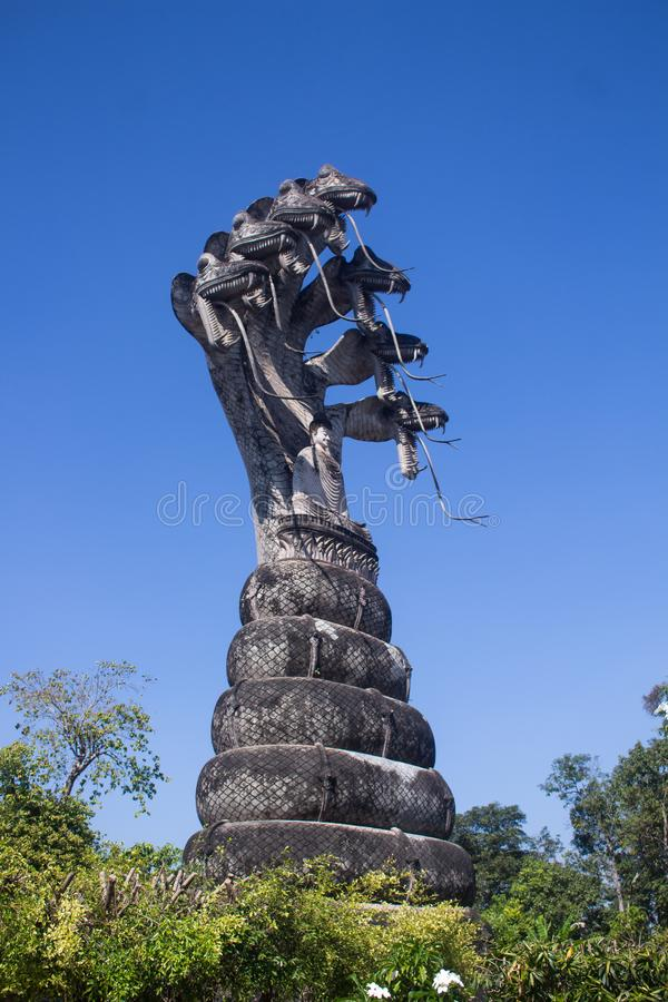 Sala Keoku, the park of giant fantastic concrete sculptures inspired by Buddhism and Hinduism royalty free stock photo