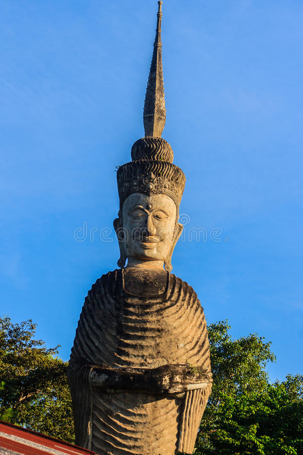 Sala Keoku, the park of giant fantastic concrete sculptures inspired by Buddhism and Hinduism. It is located in Nong. Khai, Thailand stock photo