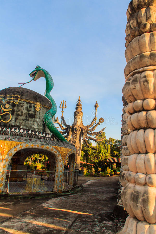 Sala Keoku, the park of giant fantastic concrete sculptures inspired by Buddhism and Hinduism. It is located in Nong. Khai, Thailand royalty free stock photos