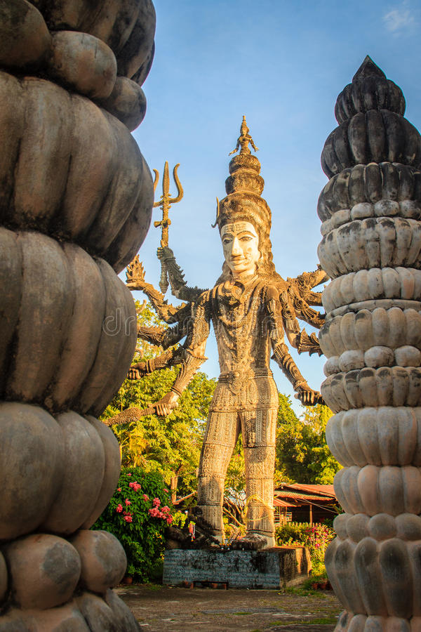 Sala Keoku, the park of giant fantastic concrete sculptures inspired by Buddhism and Hinduism. It is located in Nong. Khai, Thailand royalty free stock image