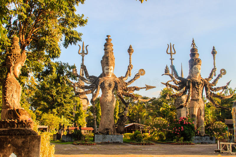 Sala Keoku, the park of giant fantastic concrete sculptures inspired by Buddhism and Hinduism. It is located in Nong. Khai, Thailand stock photography
