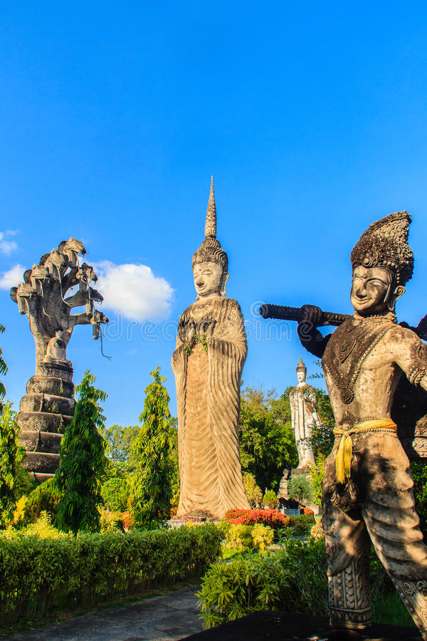 Sala Keoku, the park of giant fantastic concrete sculptures inspired by Buddhism and Hinduism. It is located in Nong. Khai, Thailand stock photos