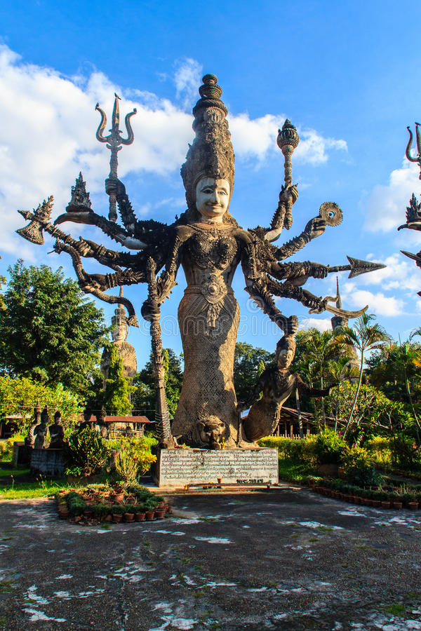 Sala Keoku, the park of giant fantastic concrete sculptures inspired by Buddhism and Hinduism. It is located in Nong. Khai, Thailand stock images