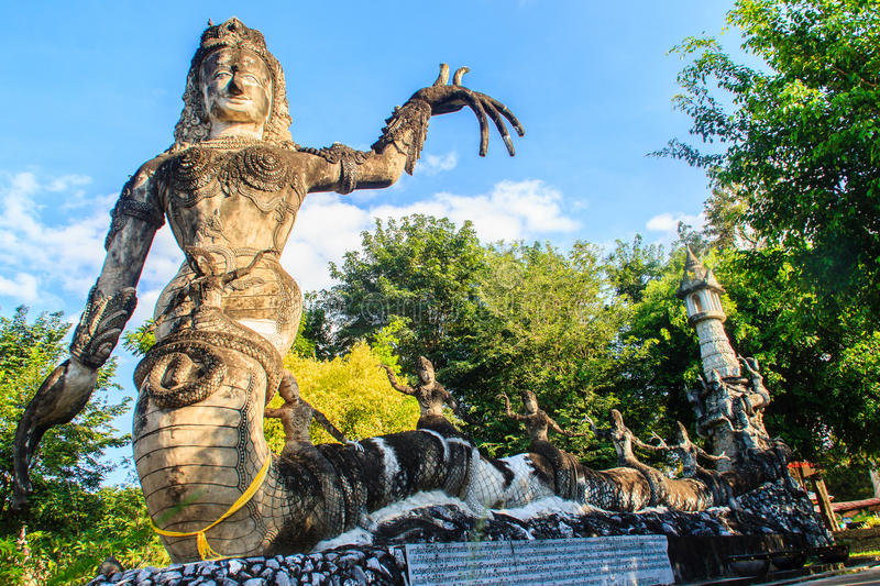 Sala Keoku, the park of giant fantastic concrete sculptures inspired by Buddhism and Hinduism. It is located in Nong. Khai, Thailand royalty free stock photo