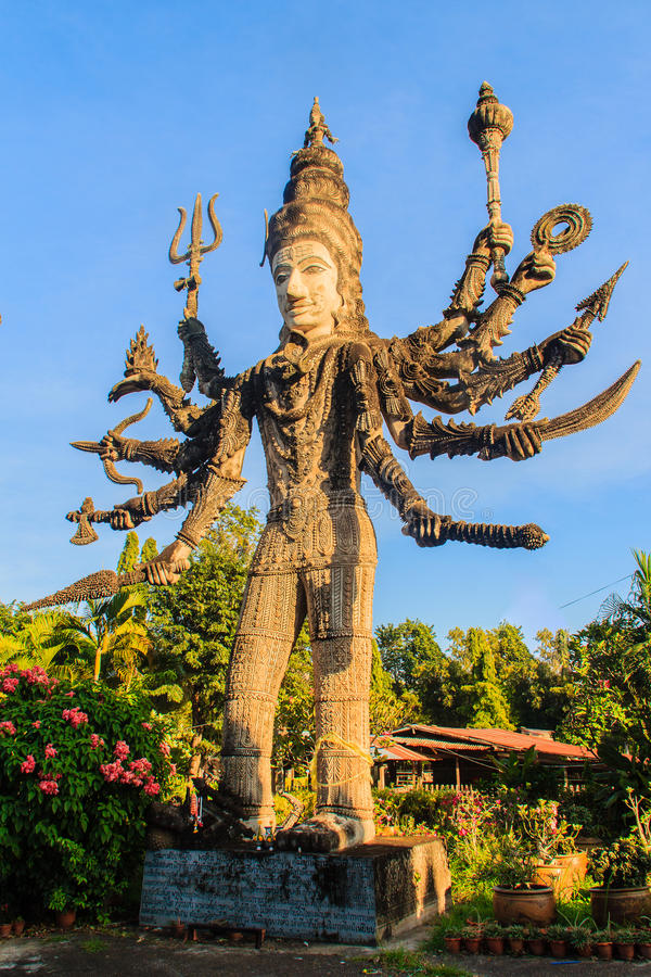 Sala Keoku, the park of giant fantastic concrete sculptures inspired by Buddhism and Hinduism. It is located in Nong. Khai, Thailand stock image