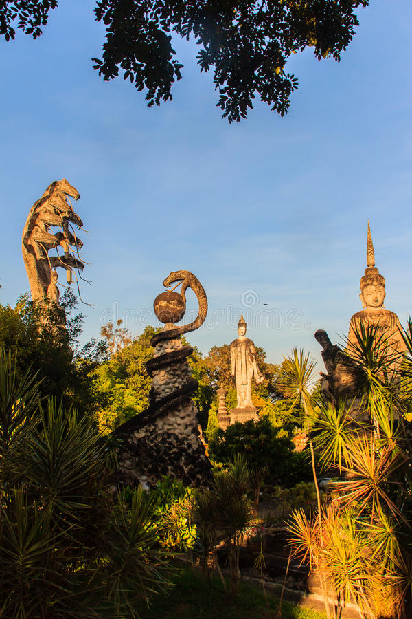 Sala Keoku, the park of giant fantastic concrete sculptures inspired by Buddhism and Hinduism. It is located in Nong. Khai, Thailand royalty free stock images