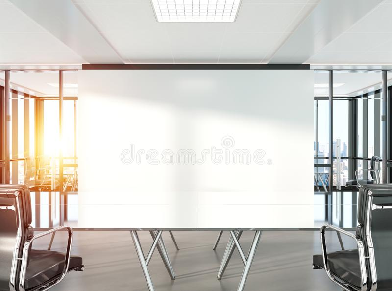 Sala konferencyjna w nowożytnym biurowym Mockup 3D renderingu royalty ilustracja