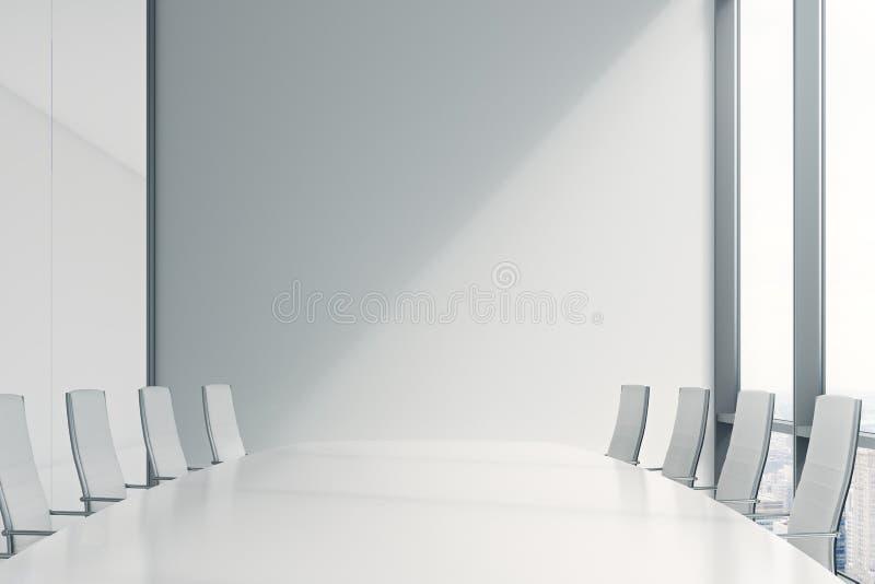 Sala konferencyjna w nowożytnym biurze z ogromni okno royalty ilustracja