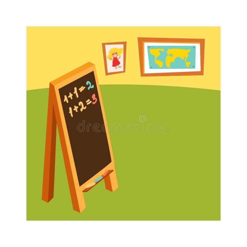 Sala lekcyjna bez studenckiej szkolnej klasy z drewnianym meble i zieleni blackboard na renderingu wektorze ilustracja wektor