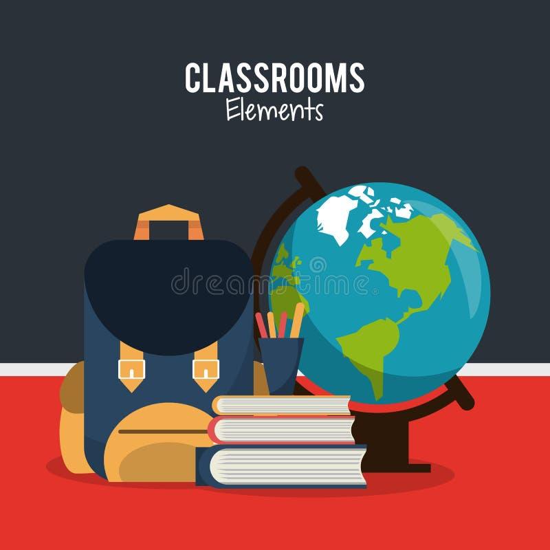 Sala lekcyjna elementów kreskówka ilustracja wektor