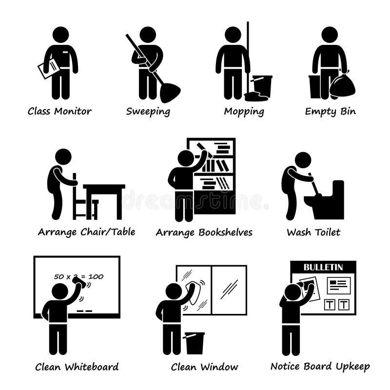 Sala lekcyjna obowiązku Studencki grafik dyżurów Clipart ilustracji