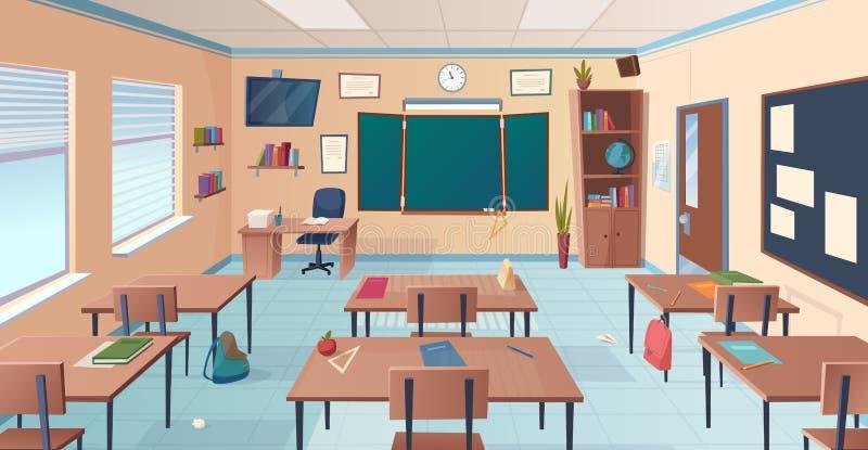 Sala lekcyjnej wn?trze Szkoły lub szkoły wyższej pokój z biurka chalkboard nauczyciela rzeczami dla lekcyjnej wektorowej kreskówk royalty ilustracja