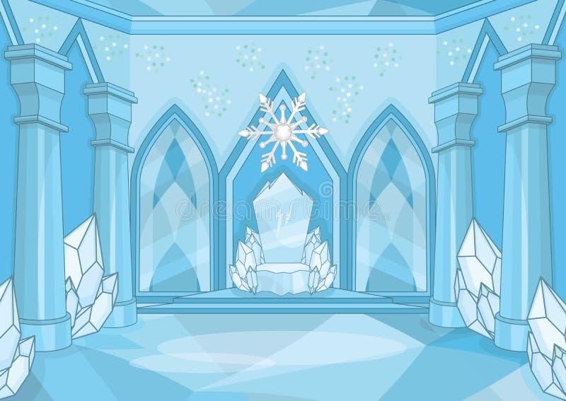 Sala mágica do trono da rainha da neve ilustração royalty free