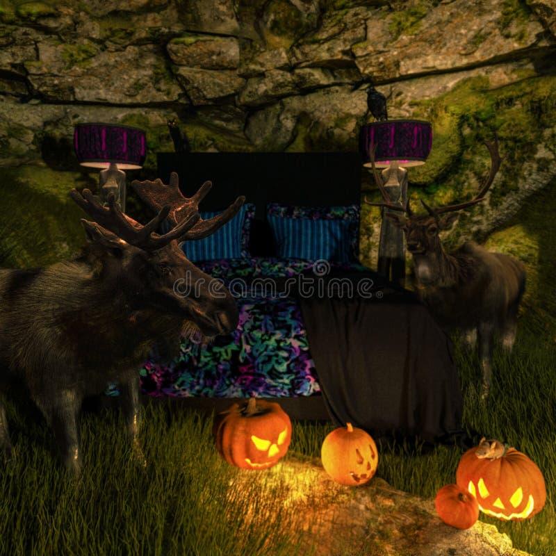 Sala místico em uma caverna com cama, vegetais e animal ilustração do vetor