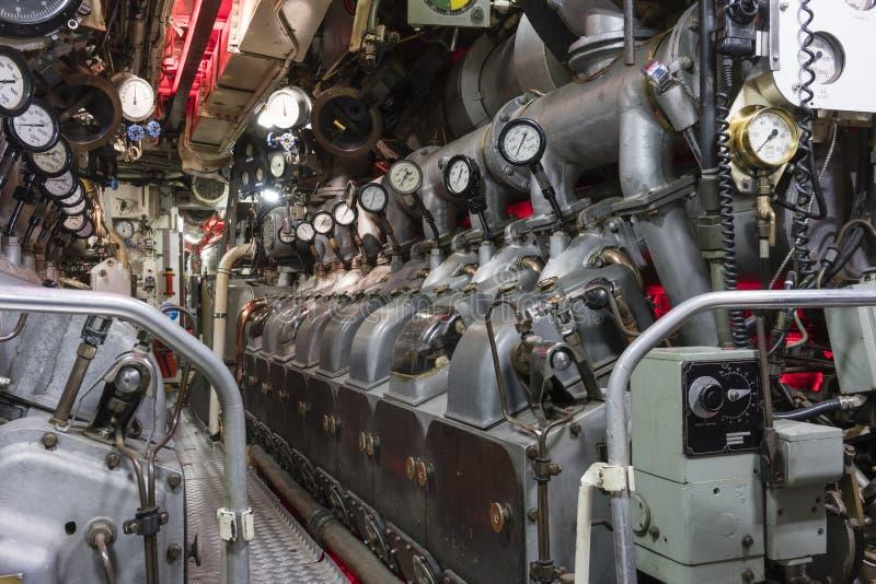 Sala macchine del sottomarino fotografie stock