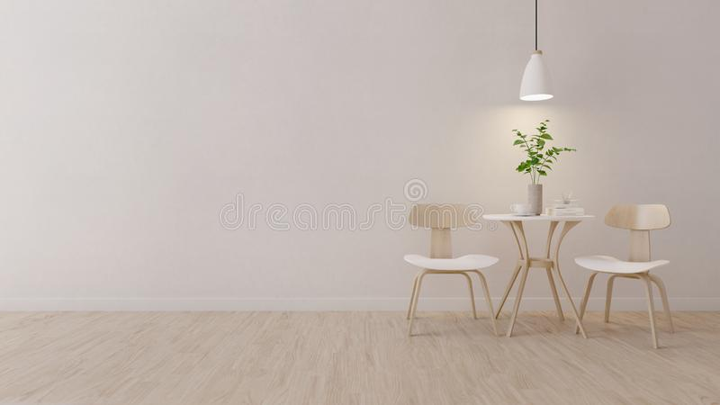 Sala moderna com cadeira de madeira ilustração stock