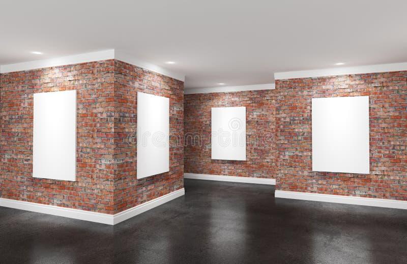 Sala moderna da galeria com os cartazes em paredes ilustração stock