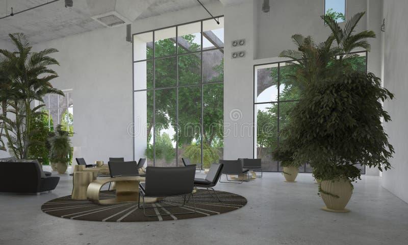 Sala o atrio espaciosa grande de espera imágenes de archivo libres de regalías