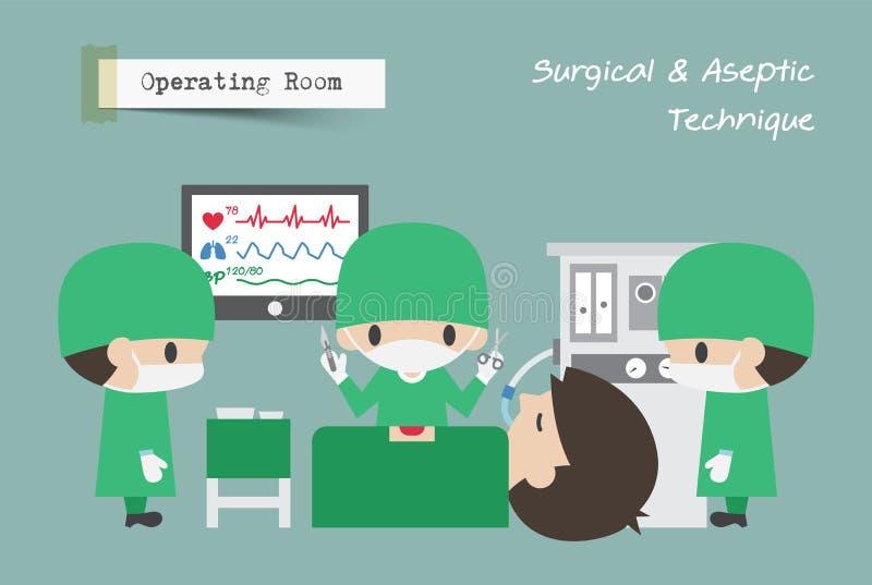 Sala Operacyjna LUB Chirurg, asystent i anestezjolog, działamy dalej pacjenta wektor ilustracja wektor