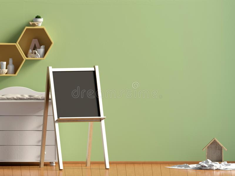 Sala pastel do ` s da criança playroom Estilo moderno ilustração 3D WA ilustração do vetor
