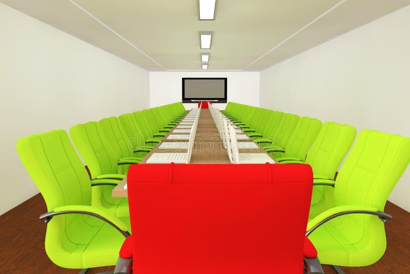 Sala per conferenze con le presidenze vuote illustrazione di stock
