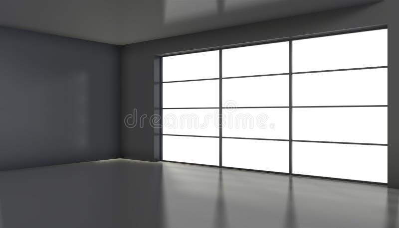 Sala preta vazia com as grandes janelas de vitral rendi??o 3d ilustração do vetor