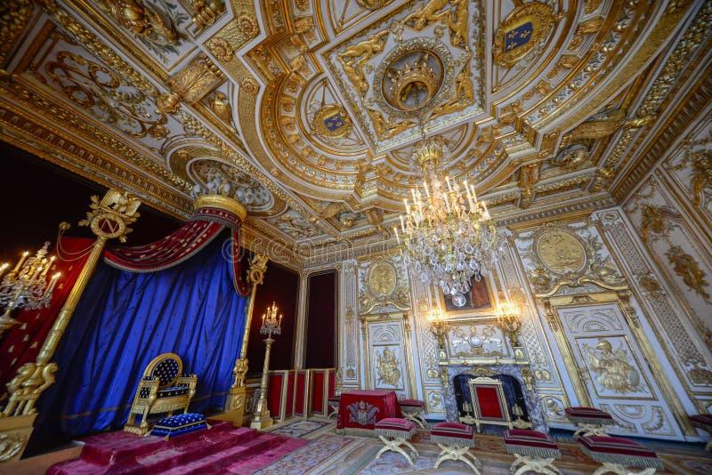 Sala real dentro do palácio do fontainbleau fotografia de stock