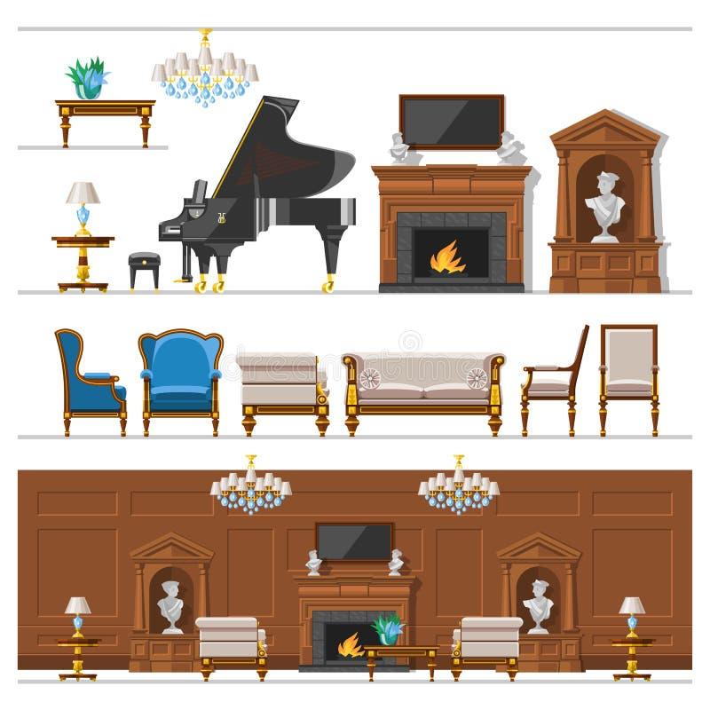 Sala rica rica da casa da mobília interior do vintage do VIP com ilustração ajustada do vetor do fundo da parede de tijolo do sof ilustração stock