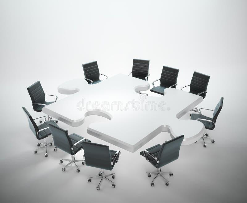 Sala riunioni con una tavola a forma di di puzzle illustrazione vettoriale