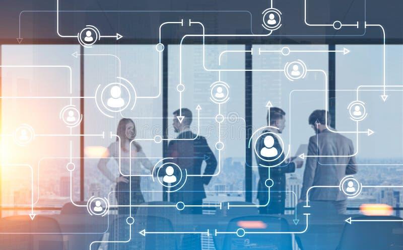 Sala riunioni dei membri del team di affari, bitcoin della città illustrazione vettoriale