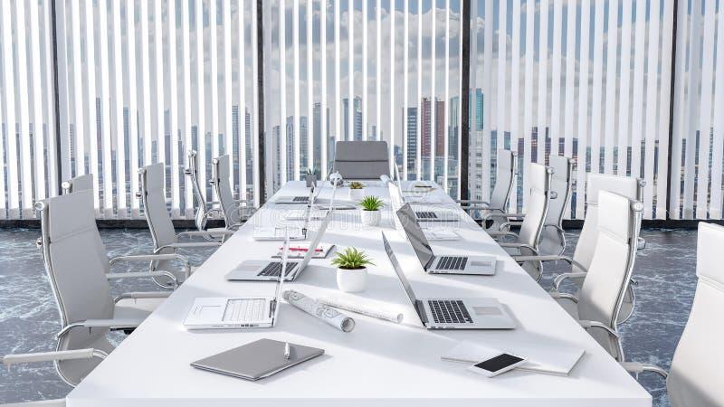 Sala riunioni e tavola di conferenza vuote con i computer portatili, ufficio moderno 3d rendere illustrazione vettoriale