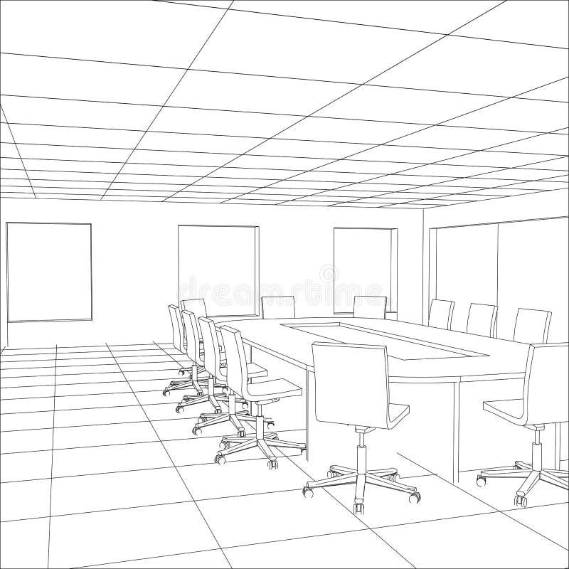 Sala riunioni interna dell'ufficio Illustrazione di rintracciamento illustrazione vettoriale