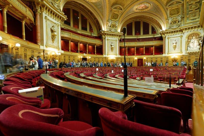 Sala riunioni nel palazzo lussemburghese, Parigi, Francia fotografie stock libere da diritti