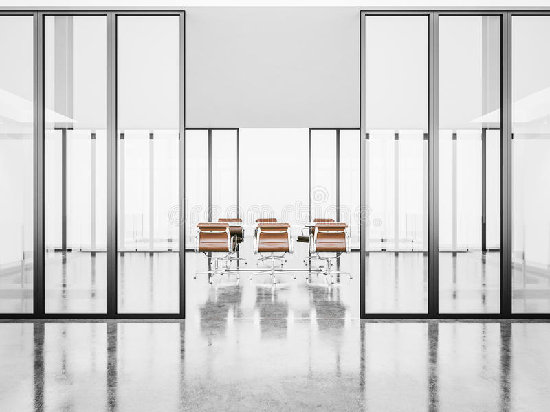 Sala riunioni vuota bianca con le porte di cristallo 3d fotografia stock