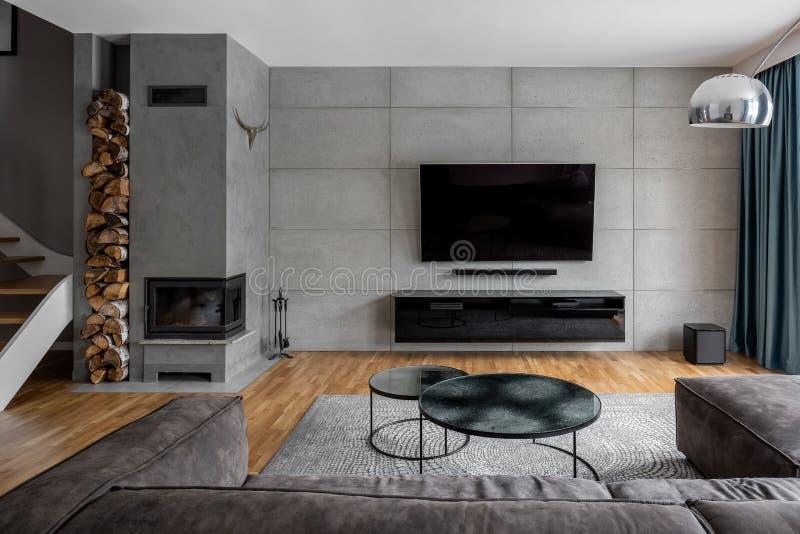 Sala TV con la parete del cemento immagine stock libera da diritti