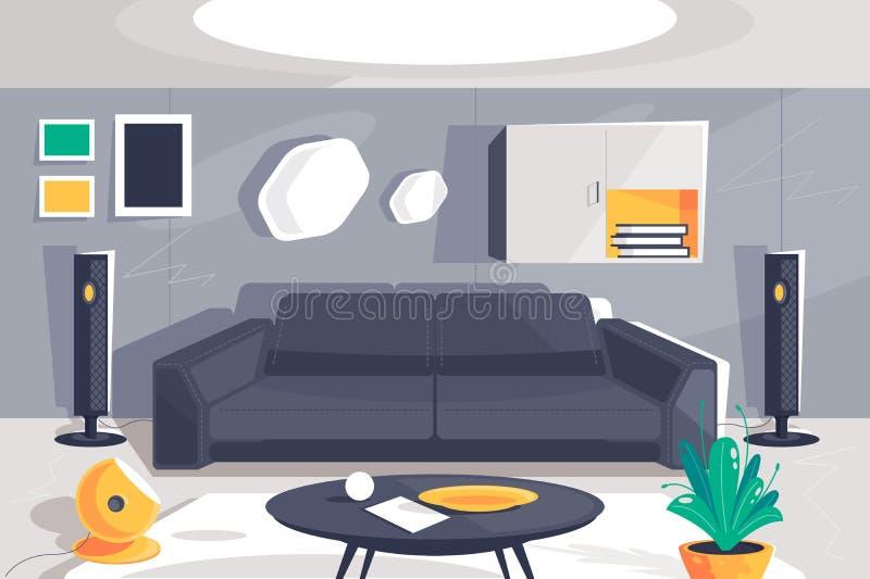 Sala urbana moderna lisa interior com cinema em casa, sofá, planta, armário, tabela e lâmpada ilustração do vetor