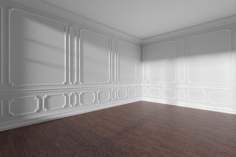 Sala vazia branca com ângulo largo do molde e do parquet escuro ilustração do vetor