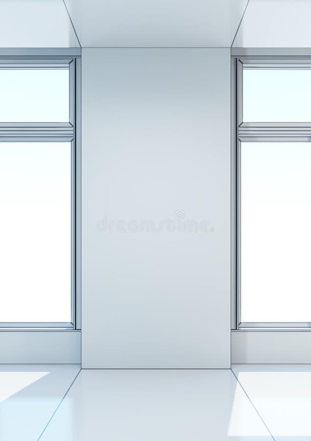 Sala vazia branca com janela ilustração stock