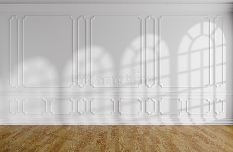 Sala vazia branca com molde, parquet e as janelas arredondadas ilustração stock