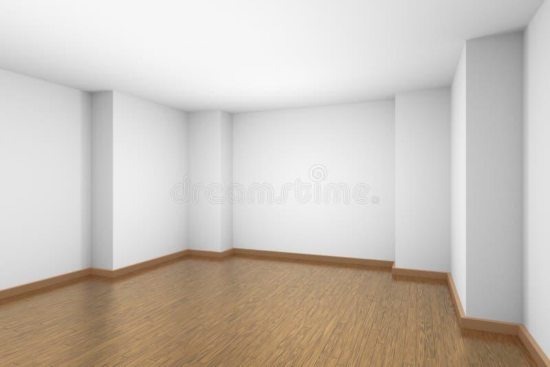 Sala vazia branca com o assoalho de parquet de madeira marrom ilustração do vetor