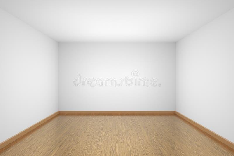 Sala vazia branca com o assoalho de parquet marrom da folhosa ilustração do vetor