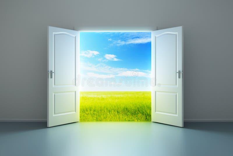 Sala vazia branca com porta aberta ilustração royalty free