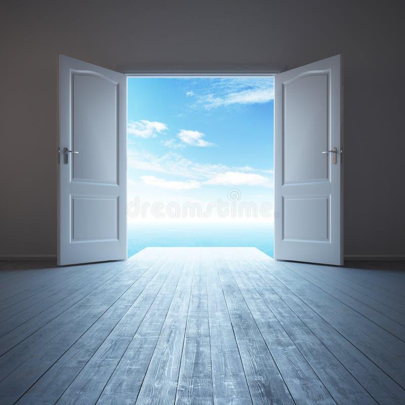 Sala vazia branca com porta aberta ilustração stock