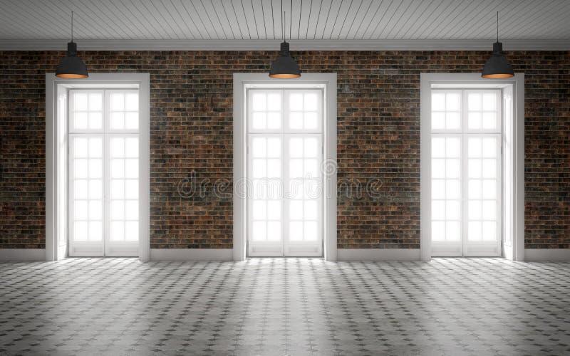 Sala vazia brilhante com parede de tijolo e as janelas enormes rendição 3d ilustração stock